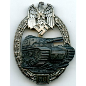 Panzer assault badge in silver 50 assaults by J. Feix