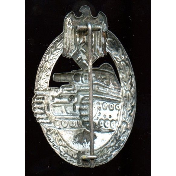 """Panzer assault badge in silver by O.  Schickle, early """"C"""" hook"""