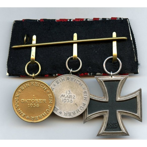 Medal bar Iron cross + 2 annexation medals