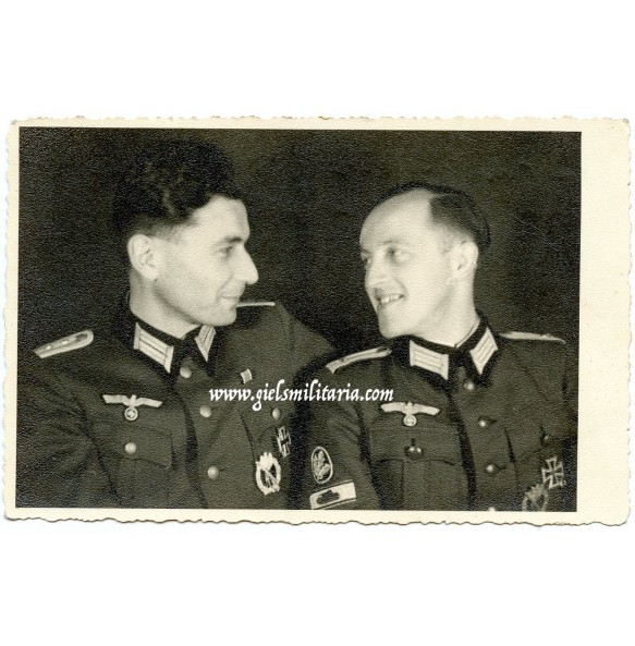 Portrait two officers, jäger with tank destruction badge in wear 1945