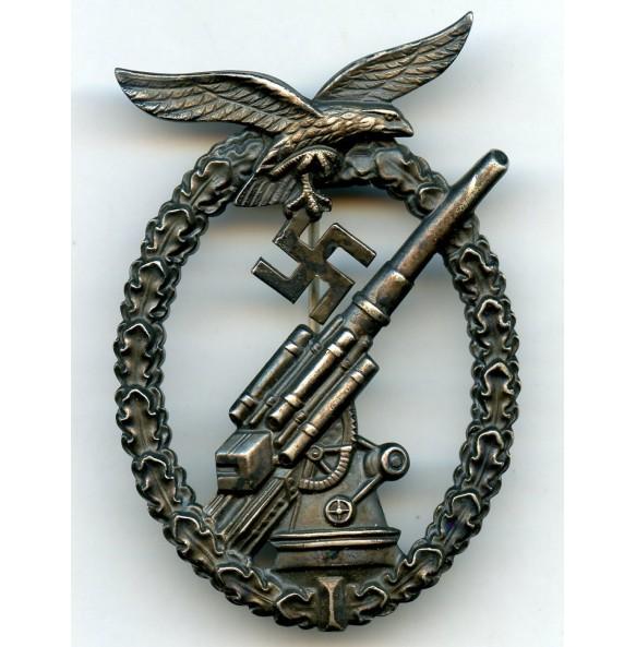 "Luftwaffe flak badge ""ball hinge"" nickel silver"