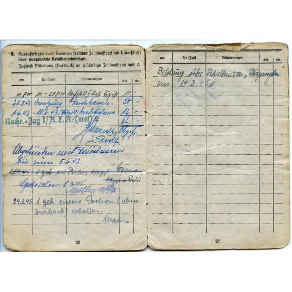 Solbuch to Stabsgefr. Kanonier P. Petznick, Artillerie Lehr Regiment Jüterbog, Heeres-Flakartillerie-Abteilung 316