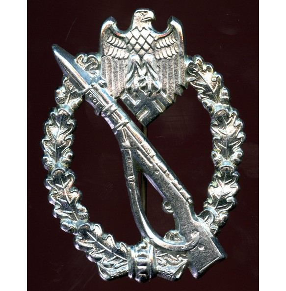 "Infantry assault badge in silver by Gebr. Wegerhoff ""GWL"" MINT chrome variant"