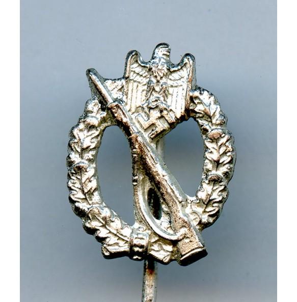 """Infantry assault badge in silver 16mm miniature by Wernstein """"W"""""""