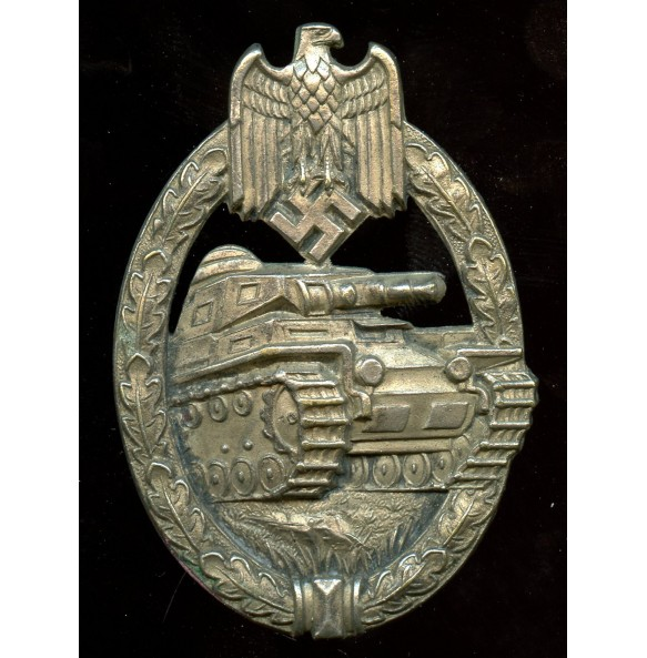 Panzer assault badge in silver by C.E. Juncker, zink massive!
