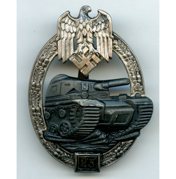 Panzer assault badge in silver 25 assaults by Josef Feix