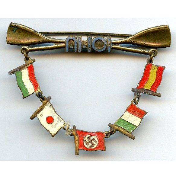 """Small hanger """"AHOI"""" with 5 axis flags"""