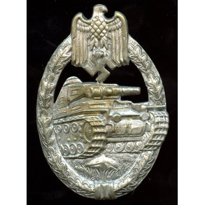 Panzer assault badge in silver by P. Meybauer, early variant!
