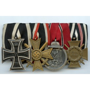 Medal bar with east front medal and KVK to WW1 veteran