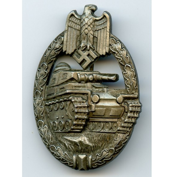 "Panzer assault badge in bronze by K. Wurster, small ""w"" zink variant"