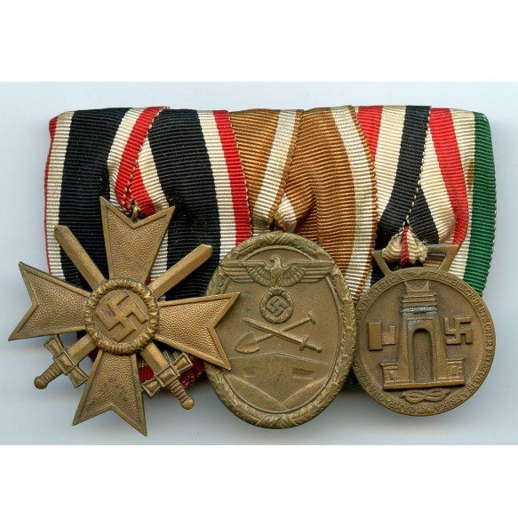 3 place medal bar with Italian/German Africa medal