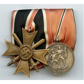2 place medal bar with war merit cross and Austrian annexation medal