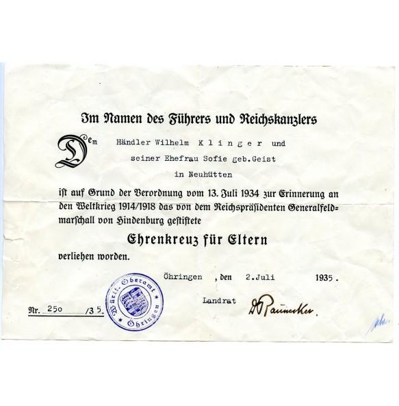 Honour cross for next of kin, widows 1914-1918 award document