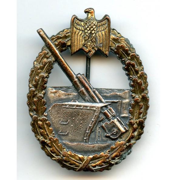 Kriegsmarine coastal artillery badge by E.F. Wiedmann, copper coated!