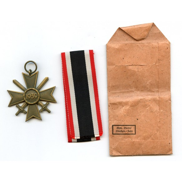 War Merit cross 2nd class with swords with package by Gebr. Bender