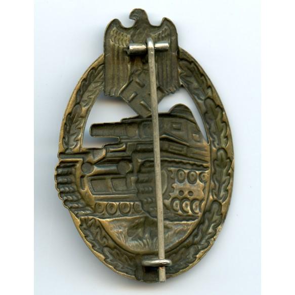 Panzer assault badge in bronze by O. Schickle