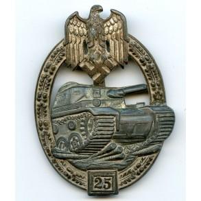 """Panzer assault badge in silver, 25 assaults by J. Feix """"JFS"""""""