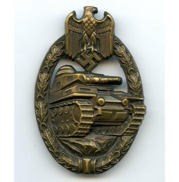 Panzer assault badge in bronze by W. Deumer