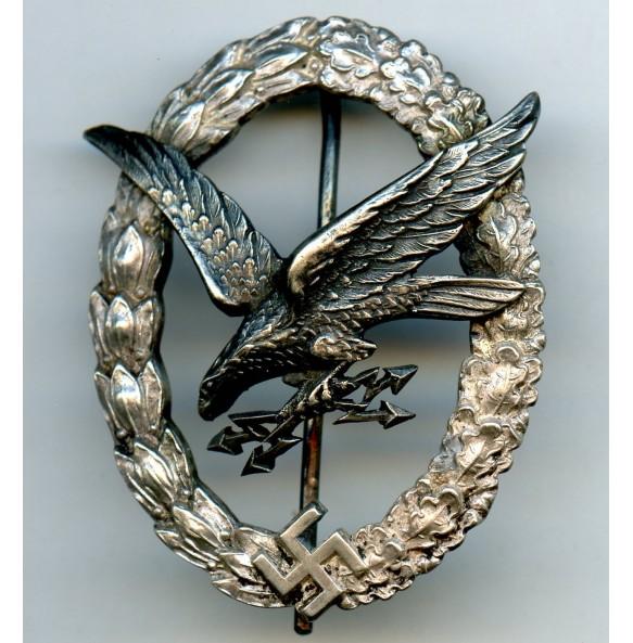 "Luftwaffe radio operator / airgunner badge by C.E. Juncker, early ""CEJ"""