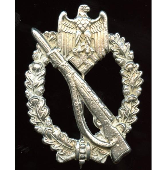 """Infantry assault badge in silver by Brüder Schneider A.G """"BSW"""", unique set up"""