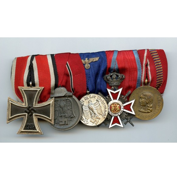 5 place medal bar with Romanian medals, EK2 by Paul Künst