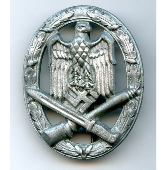 General assault badge in silver by F.W. Assmann & Sohn, STEEL variant