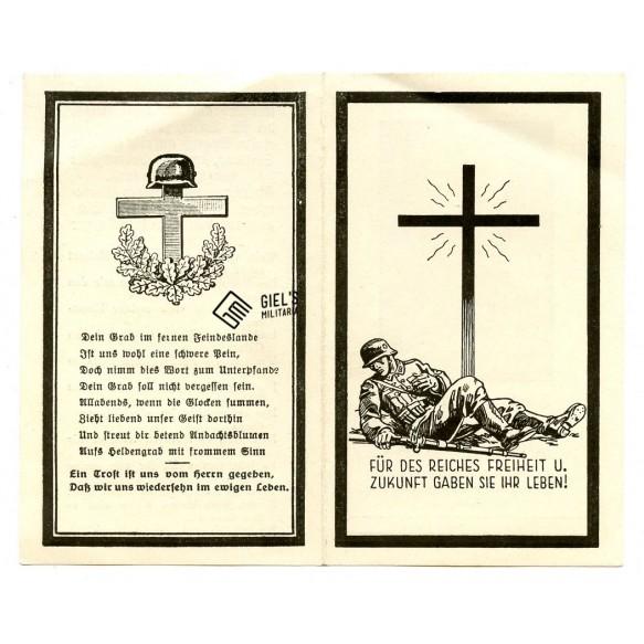 Death card to SS Sturmmann J. Jnreiter, 12th SS Pz Division, KIA Normandy Caen 1944