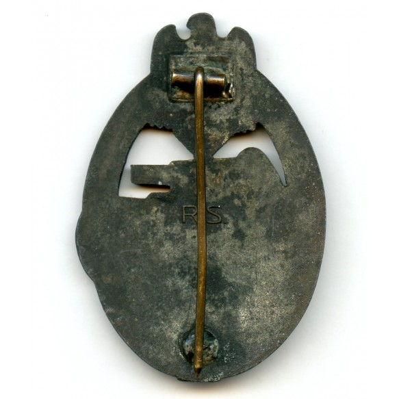 "Panzer assault badge in bronze by R. Souval ""RS"""