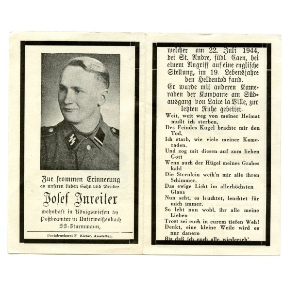 Death card to SS Sturmmann J. Jnreiter, 12th SS Pz Division, KIA Normandy Caen 1944