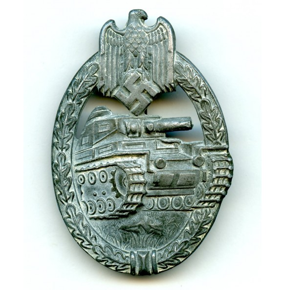 Panzer assault badge in silver by P. Meybauer, 3rd pattern