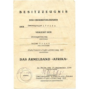 Afrika armband award document to W. Brunk, Pz. Jäger Abt 263