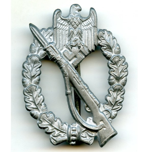 "Infantry assault badge in silver by R. Souval ""R.S.""  ""wide pin"""