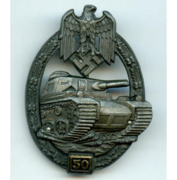 Panzer assault badge in silver 50 assaults by C.E. Juncker