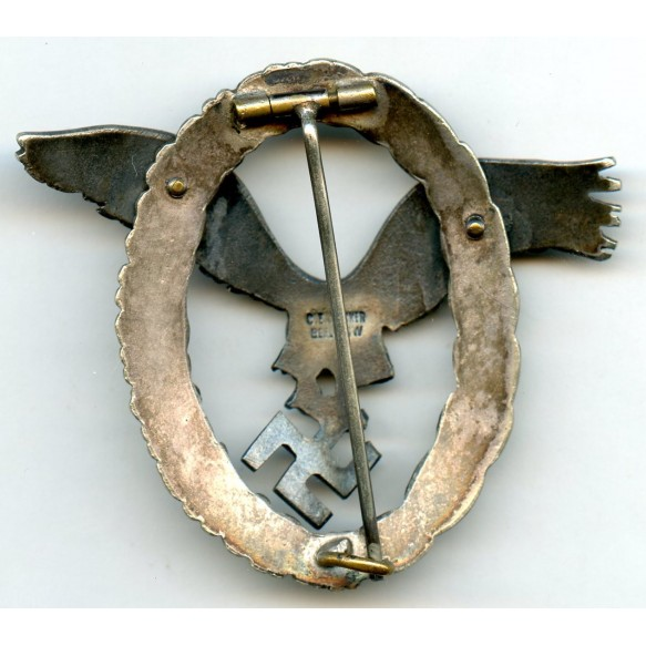 "Luftwaffe pilot badge by C.E. Juncker ""J1"", cut out legs"