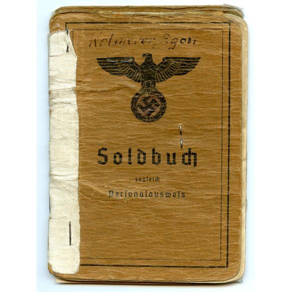 Soldbuch to San. Oberfeldwebel E. Kolmerer, Kreiskommandantur 806, Militär Verwaltung Süd-West-Frankreich