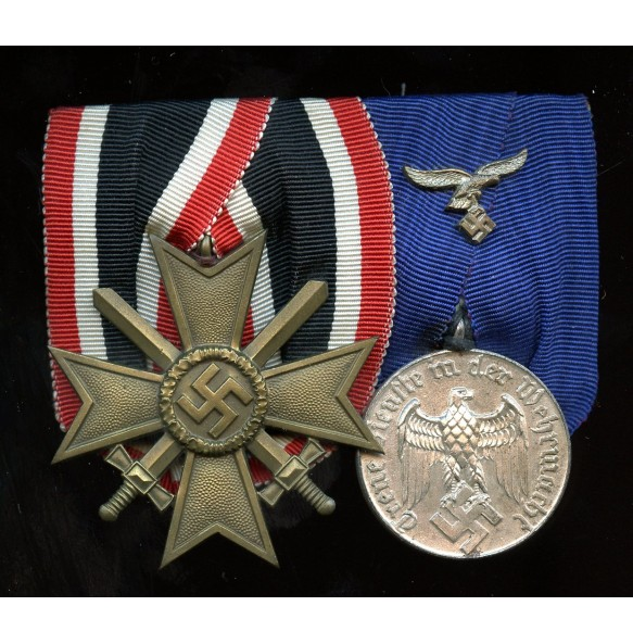 2 place Luftwaffe medal bar with war merit cross and 4 year service award
