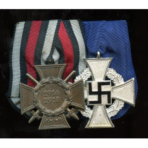 2 place medal bar with 25 year service award and 1914-18 honour cross