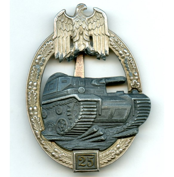 Panzer assault badge in silver 25 assaults by Josef Feix