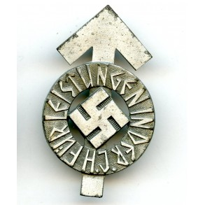 "HJ leader proficiency badge in silver by K. Wurster ""M1/34"""