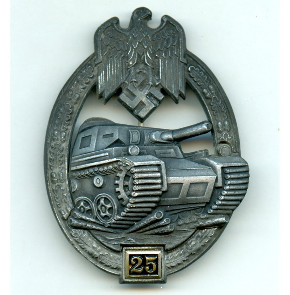 Panzer assault badge in silver 25 assaults by G. Brehmer