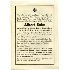 Death card to A. Salm, member of a Pz Gren. rgt, recipient EK1 + EK2