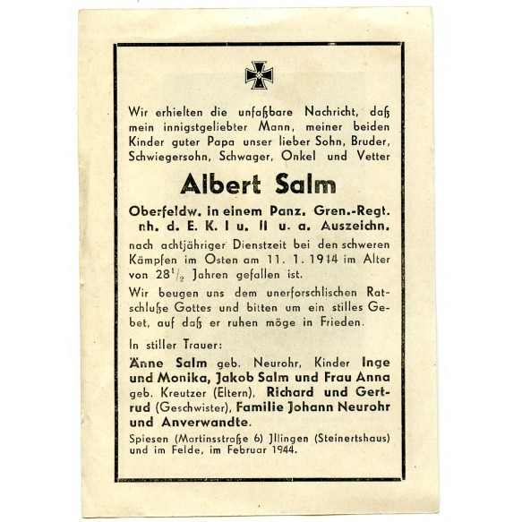 Death card to A. Salm, member of a Pz Gren. rgt, recipient EK1 + EK2