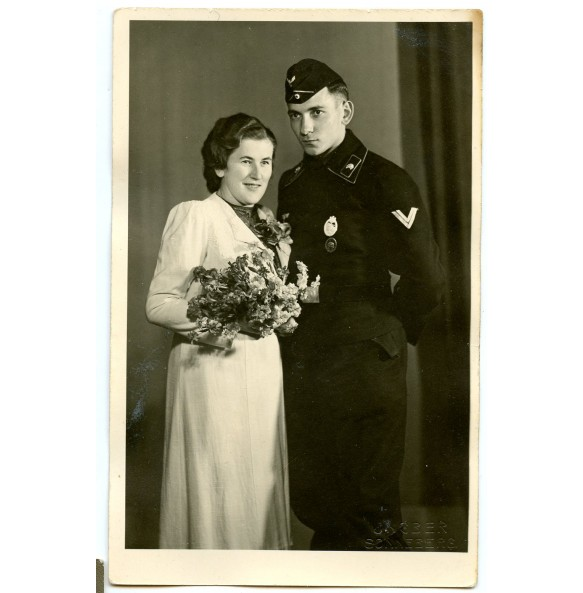 Portrait marriage decorated panzer crew member with PAB silver