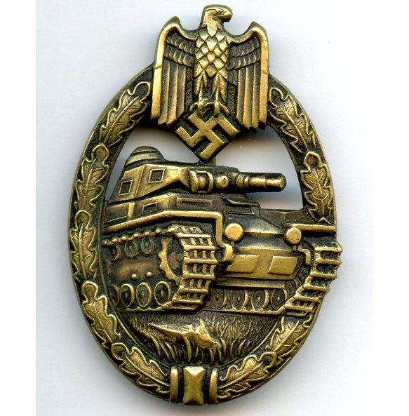 Panzer assault badge in bronze by Karl Wurster