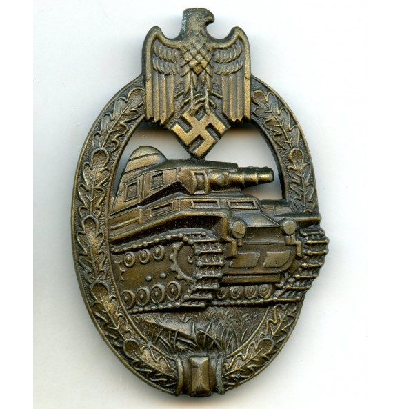 """Panzer assault badge in bronze """"A.S."""""""