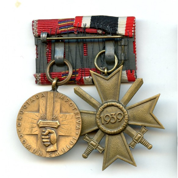 2 place medal bar with war merit cross and Romanian anti communist medal