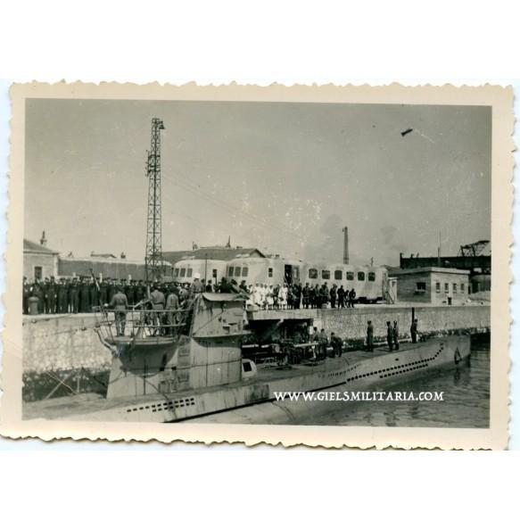 Private photo U-boat sailing out docks