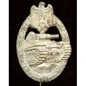 "Panzer assault badge in silver by R. Souval ""RS"" wide pin variant"