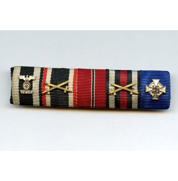 5 place ribbon bar with iron cross clasp