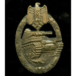"Panzer assault badge in bronze by Karl Wurster ""w"" massive tombak"